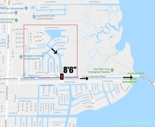 Four mile cove map of boating run out