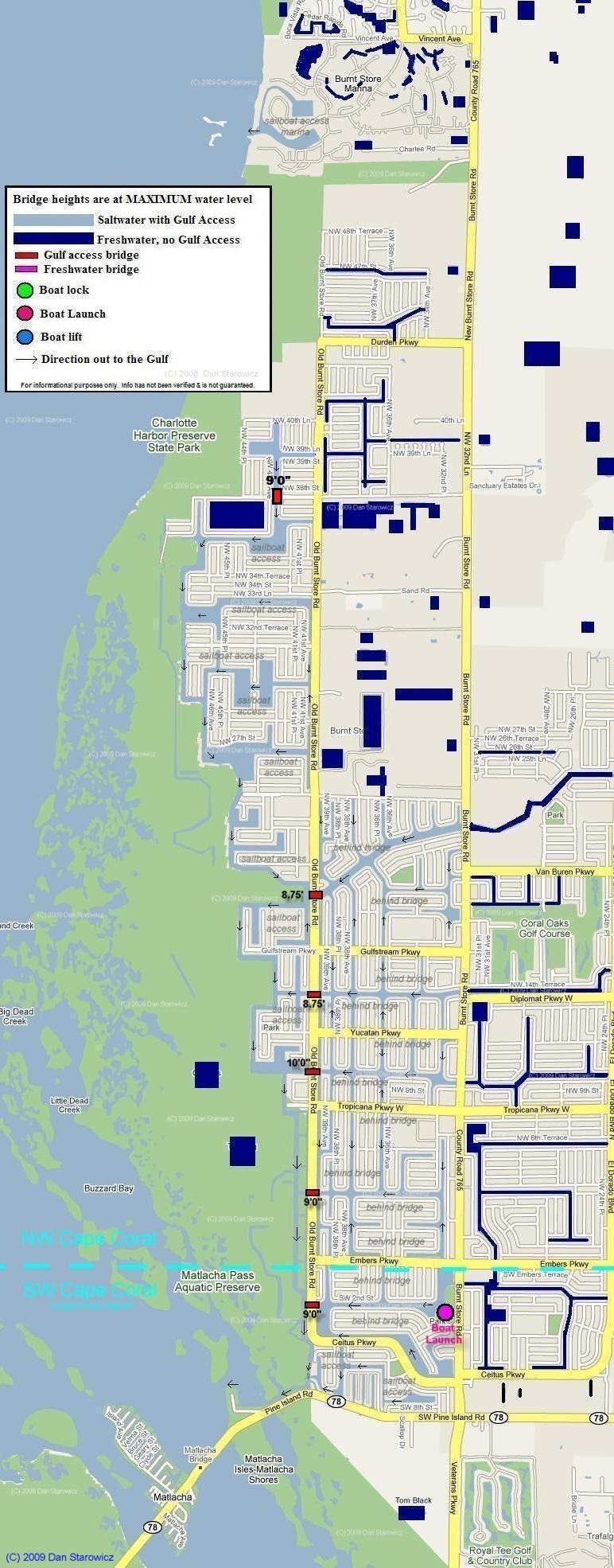 Map of Northwest Cape Coral Florida includes locations and heights of Bridges, boat locks and boat lifts as well as the location of saltwater and freshwater canals includes Burnt Store Marina and Matlacha Pass
