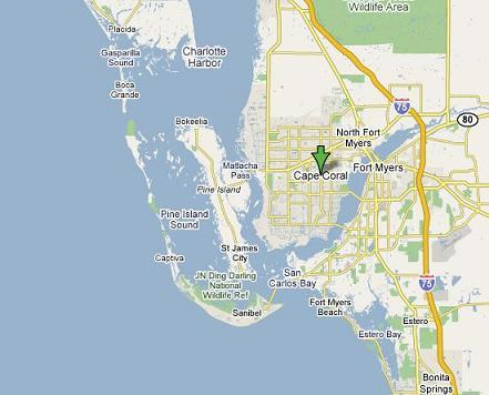 Map of Cape Coral, Florida and surrounding islands
